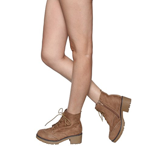 Inner Low Small Women's Heel Taupe Lace BESTON Run Zipper up Ankle EJ23 Booties Chunky q6p1nAwIYx