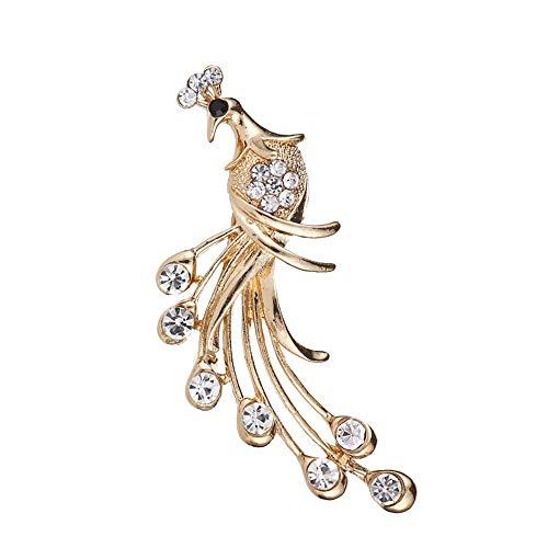 ELFTUNE Peacock Austrian Crystal Rhinestone Gold Plated Wedding Scarf Brooch Pins