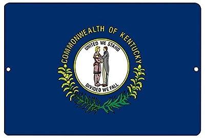 Yetta Quiller Kentucky State Flag Aluminum Metal Tin Sign Wall Decor Man Cave Bar KY