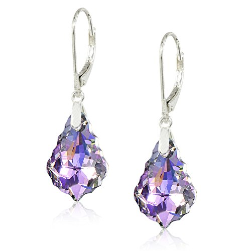 Leverback Purple Earrings (Queenees Sterling Silver Made with Swarovski Crystals Vitrial Light Purple Leverback Dangle Earrings)