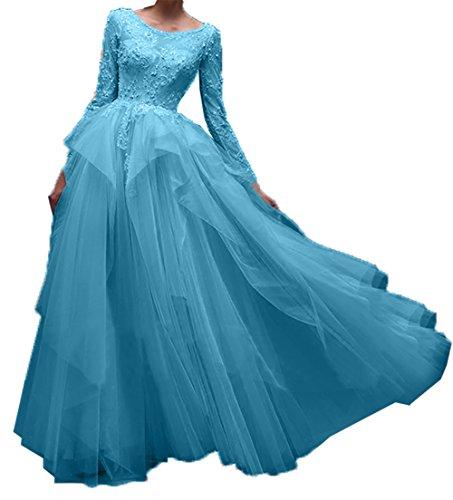 Linie Charmant Hundkragen Langarm Festlichkleider Abendkleider Damen Promkleider Partykleider A Blau Spitze Ballkleider wABZwfU6pq