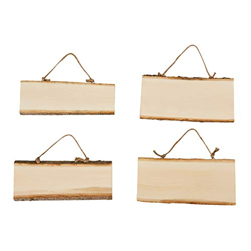 Juvale Unfinished Wood Signs - 4-Pack Hanging Wooden Plaques, Rectangle Wood Slices, Natural Wood Signs, Decorative Door Signs, Rustic Signs for Home Decor, DIY Projects, 10.2 x 7.5 x 0.5 Inches from Juvale