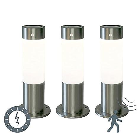 QAZQA Moderno Set de 3 balizas ROX 30 acero solar Metálica Cilíndra/Alargada Incluye LED