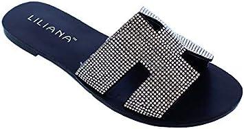 Flat Sandals Slides Rhinestones Slip