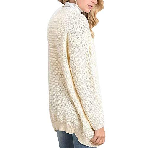 Épais Texture Tops Buttton Femmes Tricot Solide Pull Casual Beige Poche Vrac fq5xw1pnC