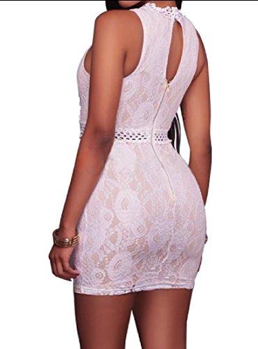 Bodycon White Sleeveless Short Stylish Dress Neck Women's O Coolred EvwB6qx7B