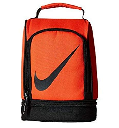 NIKE Insulated Dome Lunch Box Sport Tote Cooler Bag (Bright Crimson/ Black with Black Swoosh)