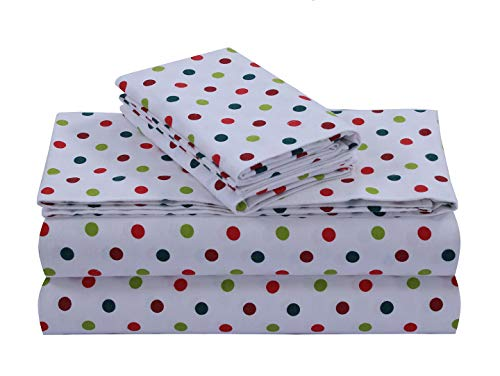 (FEATHER & STITCH NEW YORK 100% Cotton Flannel Sheet Set, Deep Pocket - Warm - Super Soft - Breathable Bedding (Queen, Red Polka Dot))