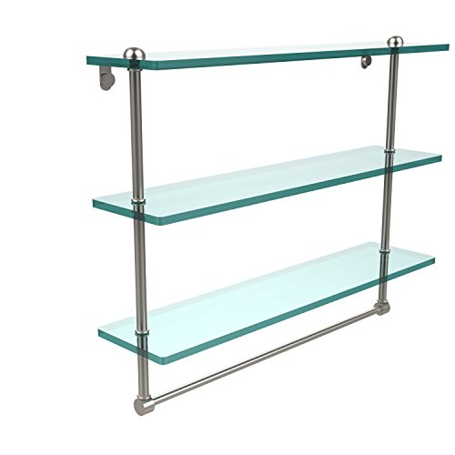 (Allied Brass RC-5/22TB-SN 22 Inch Triple Tiered Glass Shelf with Integrated Towel Bar, Satin Nickel)