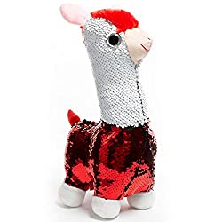 Alpaca Llama Stuffed Animal Toy Reversible White and Red Sequins