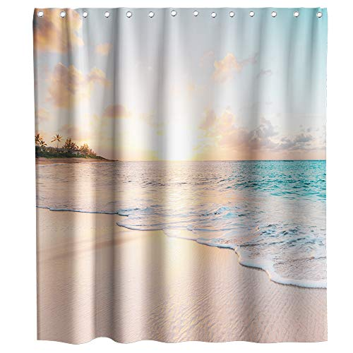 Lifeasy Blue Ocean Waves Fabric Shower Curtain Sets Beige Sunset Beach Bathroom Decor with Hooks Waterproof Washable 72 x 72 inches