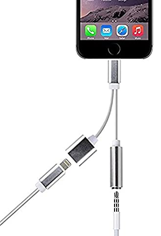 Pantheon AC170211 2-in-1 Lightning Adapter for iPhone 7/7 Plus, Lightning Charger and 3.5 mm Earphone Stereo Jack Cable Adapter - Rose (Audio Chord For Car)