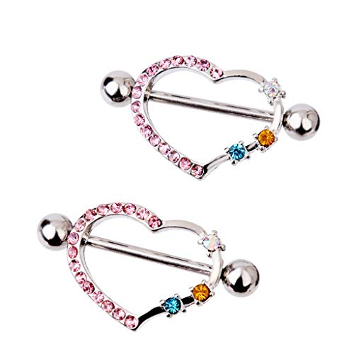 (2Pcs Nipple Shield Rings Pink Rhinestone Heart Barbell Body Piercing Jewelry)