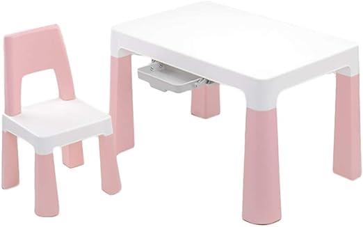 LIANGJUN Juegos De Mesa Y Sillas for Niños Cajón Almacenamiento Casa Dibujo Escribir Portátil Porte Fuerte, 3 Colores (Color : Pink, Size : B): Amazon.es: Hogar