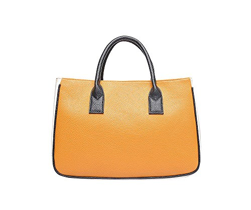 JoSa - Yellow & Cream Block Tote Shopper Bag - Magnetic fastening with top handles - FREE DELIVERY