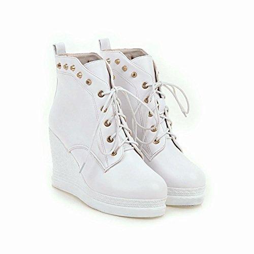 Latasa Dames Bezaaid Veter Platform Wiggen Enkel Oxford Boots Wit