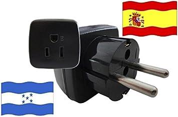 Adaptador de Viaje ESPAÑA a Honduras ES - HN Travel Plug ESPAÑA-Viaje (Protección contacto, 2200Watt): Amazon.es: Bricolaje y herramientas
