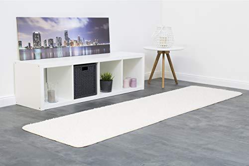 Misento 292111 Shaggy - Alfombra (pelo largo, 67 x 250 cm), color blanco