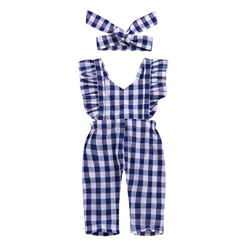 2 Pcs Newborn Baby Girl Romper Ruffle Sleeves Strap Blue Plaid Jumpsuits Bodysuits Bowtie with Headband (6-12 Months, Blue Plaid Backless ()