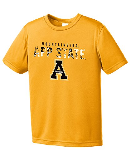 (NCAA Appalachian State Mountaineers Youth Digital Camo Short Sleeve Polyester Competitor T-Shirt, Small,Gold )