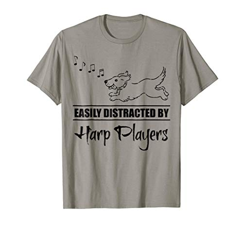 Running Dog Easily Distracted by Harp Players Music Notes T-Shirt