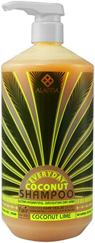 Alaffia - Everyday Coconut Shampoo, Dry to Extra Dry Hair, Gentle Support to Cleanse, Hydrate, and Stimulate Hair with African Ginger, Coconut Oil, and Shea Butter, Fair Trade, Coconut Lime, 32 Ounces 1 100% FAIR TRADE: Feel good about how you are getting your products with 100% Certified Fair Trade Ingredients. HYDRATING AND INVIGORATING: EveryDay Coconut Ultra Hydrating Shampoo is prepared with Certified Fair Trade virgin coconut oil, ultra hydrating shea butter, invigorating lime extract, and African ginger CLEANSING WITHOUT STRIPPING: For deep cleaning and gentle stimulation.