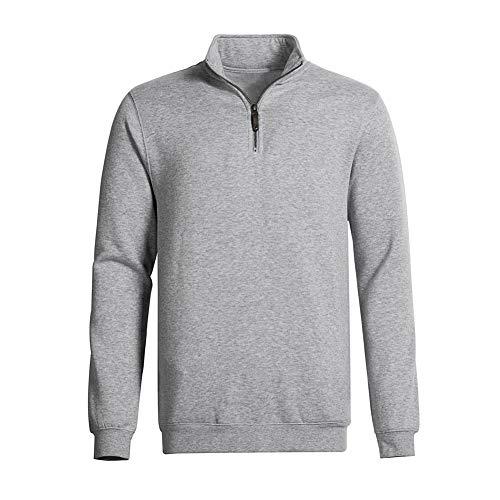 Dolcevida Men's Big & Tall 1/4 Zip Mock Neck Pullover Crosswind Relaxed Fit Sweatshirt (Light Grey Mix, S) 1/4 Zip Mock Neck Pullover
