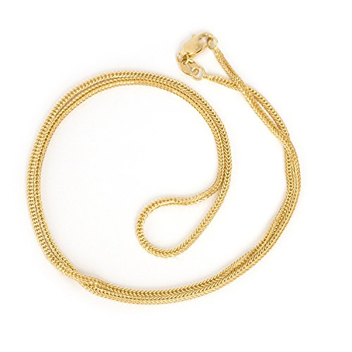 Beauniq 14k Yellow Gold 1.2mm Square Wheat Foxtail Chain Necklace, 16