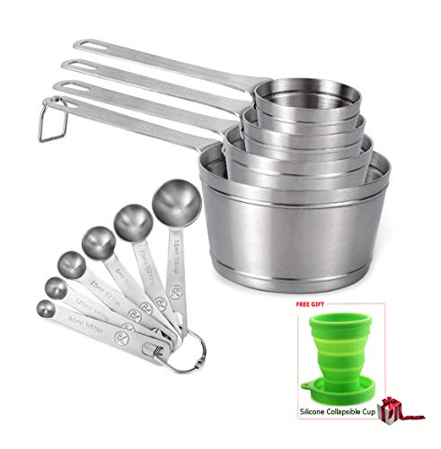 Measuring Cups and Spoons Set of 10 piece in 18/8 Stainless Steel, Kitchen Stackable 4 Measuring Cups and 6 Measuring Spoons for Dry and Liquid ()