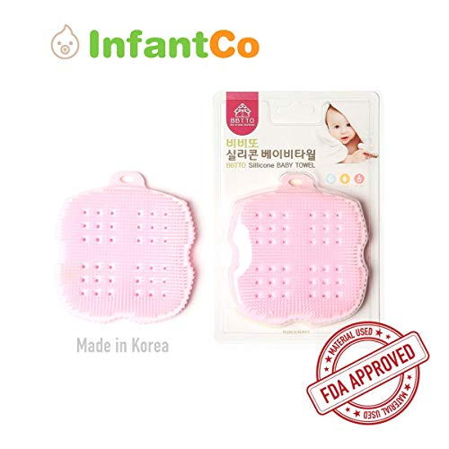 InfantCo Anti-bacterial FDA-approved Ultra Soft Baby Bath Silicone Scrubber Sponge, Foam Rub Microwave or Boil Water Sterilizing (Pink)