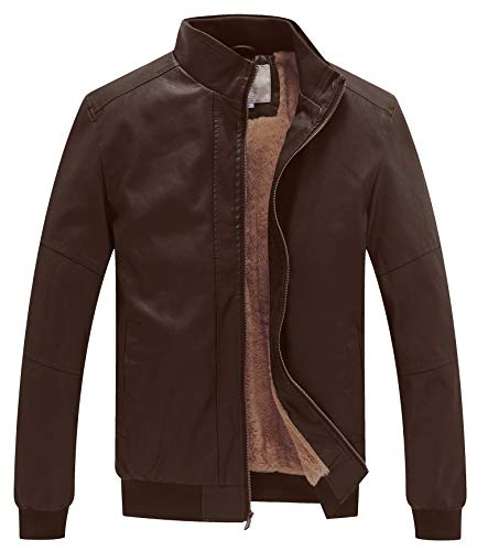 WenVen Men's Winter Fashion Faux Leather Jackets (Brown,XL)