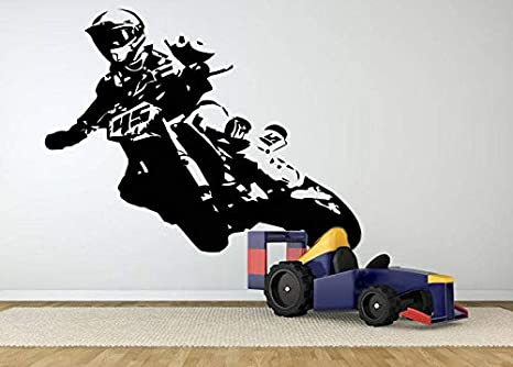 Motorcross Wall Sticker Set Children Art Decal Kids Bedroom Vinyl Bike Racing