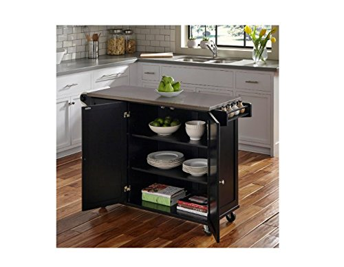 Kitchen Carts And Islands, On Wheels with Stainless Steel Top And Lots Of Storage, Color Black