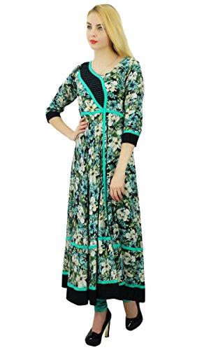 Phagun Diseñador floral algodón Anarkali Kurti de mujeres de origen Kurta vestido ocasional Multicolor