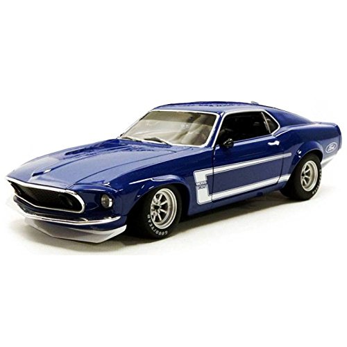 1969 Ford Mustang Boss 302 Trans Am Blue Street Version Limited Edition to 384 pieces Worldwide 1/18 Diecast Model Car by Acme A1801819B - 1969 Ford Mustang Boss 302