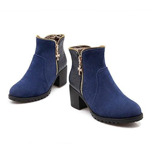 AmoonyFashion Womens Soft Material Round Closed Toe Kitten Heels Zipper Solid Boots Blue gpROX5sEpW