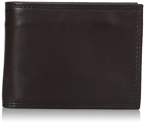 Brown Leather Buxton - Buxton Men's Emblem Zip Convertible Nappa Lambskin Wallet, Brown One Size