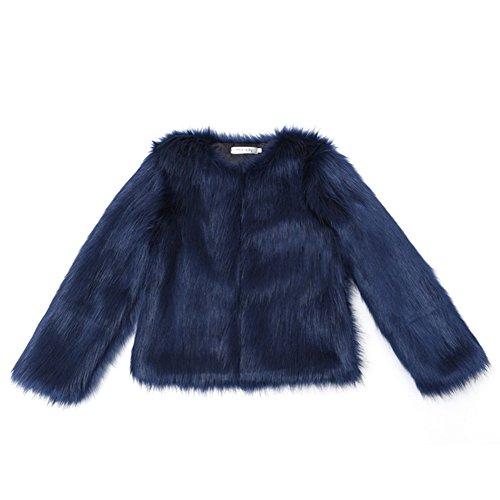 Manteau Per Fur Manche Femme Longue Fourrure Blouson Femme Coat Hiver Bleu Fourrure Fausse Fourrure Veste dUArUWF