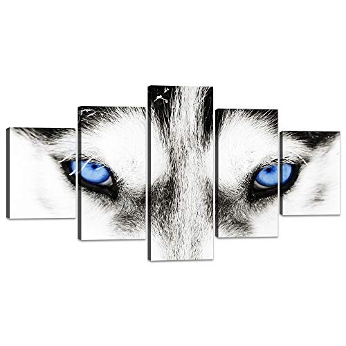 Yatsen Bridge Animal Face Head Series Canvas Wall Art Black and White Wolf Dog with Blue Eyes Posters 5 Pieces Pictures Painting Artwork Home Decorations for Living Room Office Framed (60