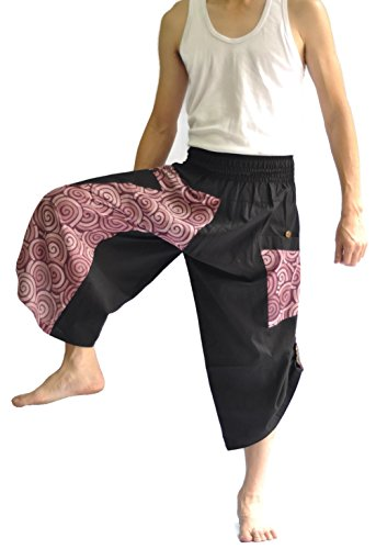 Siam Trendy Mens Harem Pants Design Japanese Style Pants One Size Black and Circle Design (Purple) by Siam Trendy (Image #3)