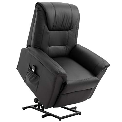 HOMCOM Faux Leather Three Position Power Lift Recliner Chair with Remote - Black