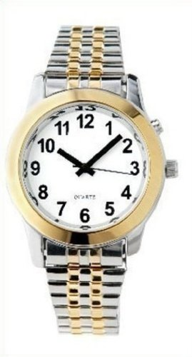 Ladies' Two Tone Talking Watch with White Face