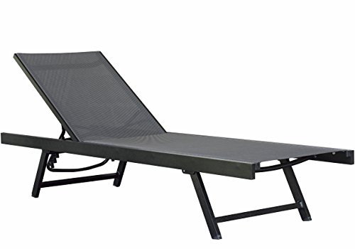 Vivere Aluminum Urban Sun Lounger, Black Chrome