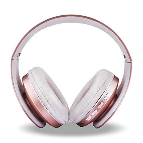 FX-Viktaria Wireless Headphones, Over Ear Headset with Microphone, Foldable and Lightweight, Support TF Card, USB Charging Headset, MP3 Mode and FM Radio for Cellphones Laptop- Rose Gold