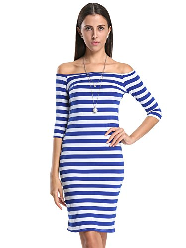 Choies Women's Blue Monochrome Stripe Off Shoulder Half Sleeve Pencil Dress S (Light Blue Off The Shoulder Dress compare prices)