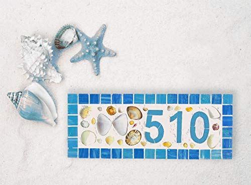 Ruskin352 House Number Plaque Mosaic Wood Sign Address Plaque Modern Mailbox Medium Horizontal Shell House Number Beach Decor Coastal Mailbox Butterfly