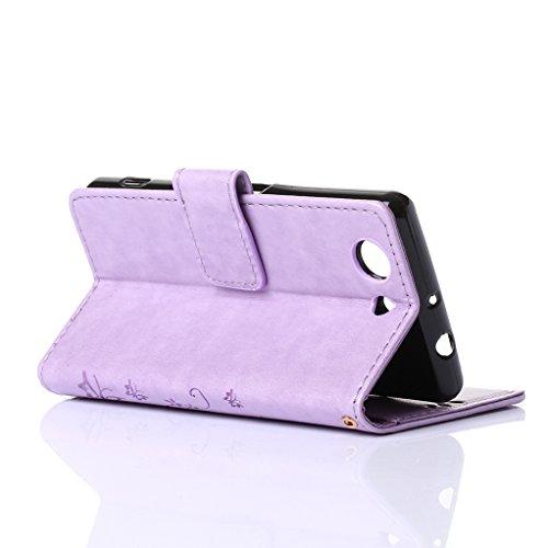 Trumpshop Smartphone Carcasa Funda protección para Sony Xperia Z5 + Marrón + PU Cuero Caja Protector Billetera con la Ranura la Tarjeta Choque Absorción Purpúreo Claro