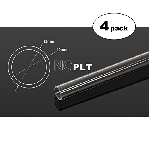 (Bitspower None Chamfer PETG Link Tube, 12mm OD, 1000mm, Clear, 4-Pack)