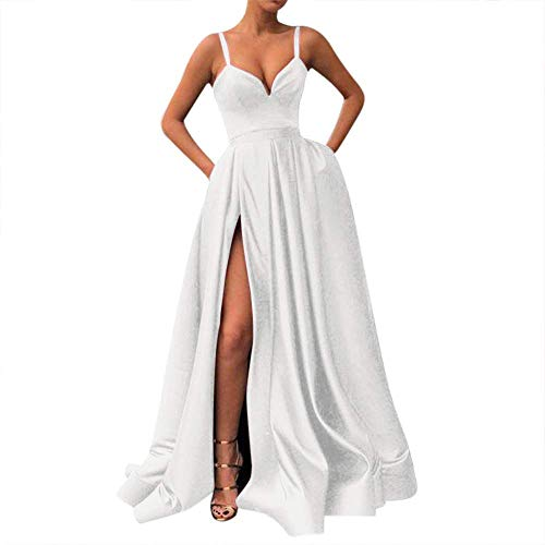 (Fanciest Women's Spaghetti Straps Slit Satin Prom Evening Dresses with Pockets White)