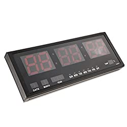 MagiDeal Big Oversized Digital Colorful LED Calendar Clock with Day and Date Temperature Display Shelf or Wall Mount US Plug - Red, 48x4x19cm